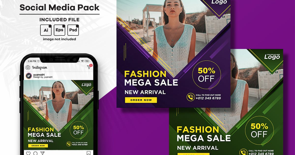 Download Fashion Social Media Post Template by yuanesei