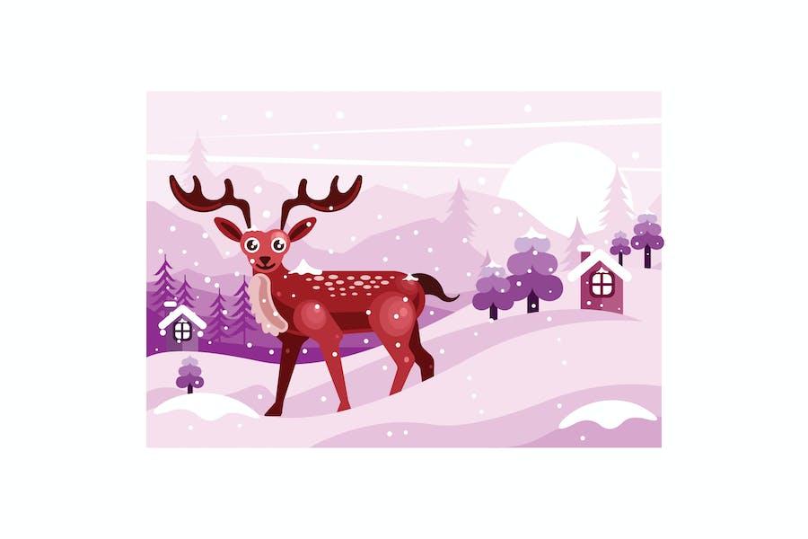 Winter Landscape with Deer Illustration