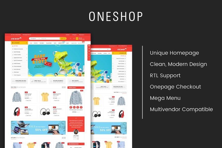 OneShop - Multipropósito Responsive OpenCart 3 Tema
