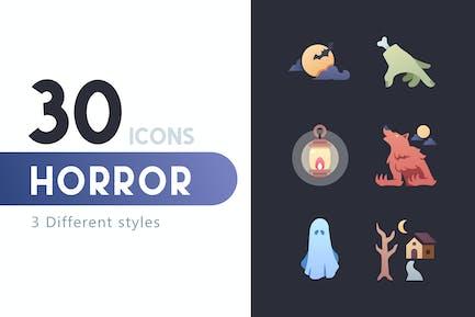30 Horror icon set
