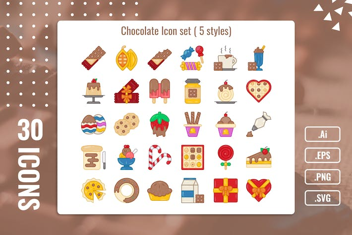 Thumbnail for 30 Iconset Chocolate with 5 styles variant
