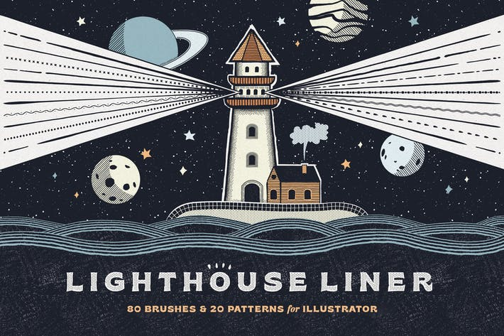 Thumbnail for Lighthouse Liner Illustrator Brushes