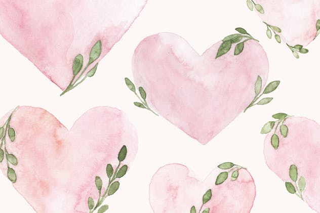Valentines Day Pink Watercolor Heart Illustrations