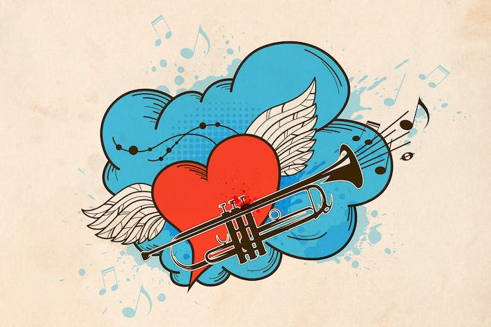 Thumbnail for Musical Retro Background with Heart