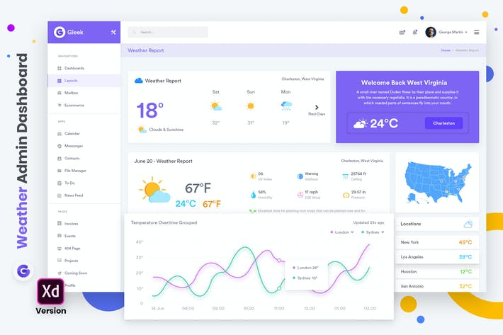 Thumbnail for Weather Admin Dashboard UI Kit (XD)