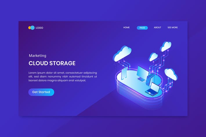 Thumbnail for Cloud Storage Isometric Concept Landing Page