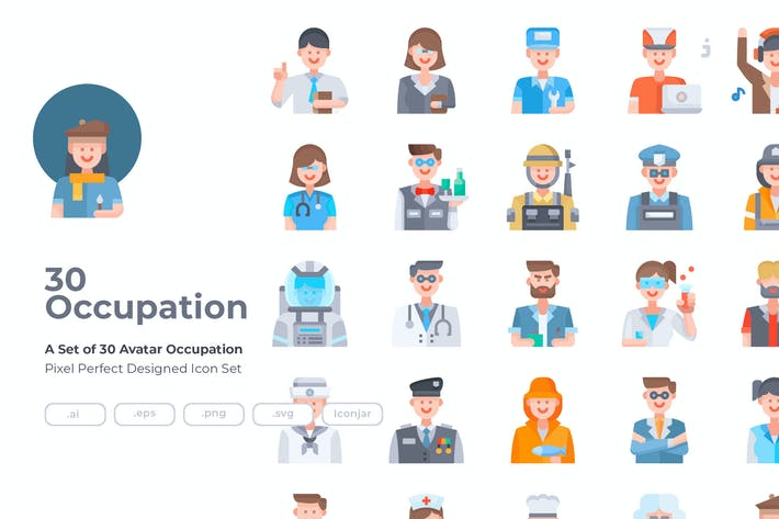 30 Иконки оккупации аватаров - плоский