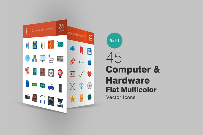 45 Computer & Hardware Flat Multicolor Icons