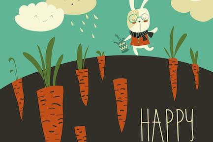 Little rabbit and carrot field