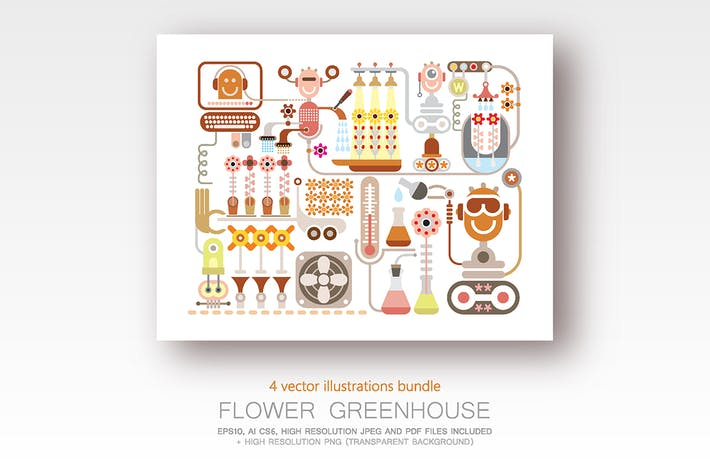 Thumbnail for Flower Greenhouse bundle of 4 vector illustrations