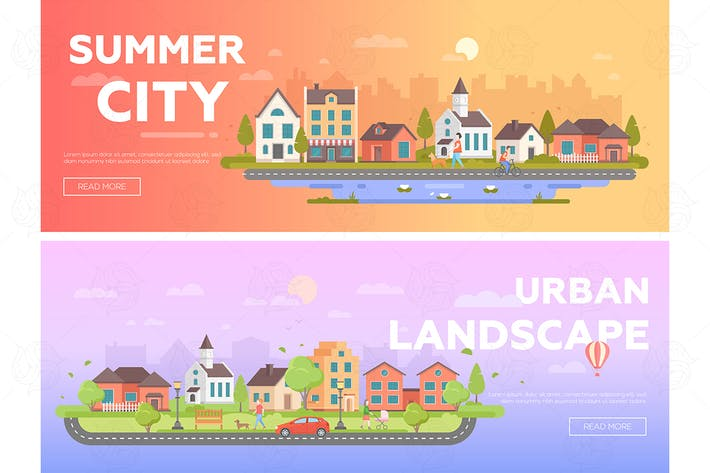 Thumbnail for Summer city, urban landscape - set of banners