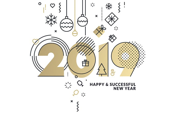 Thumbnail for Business Happy New Year 2019 Greeting Card