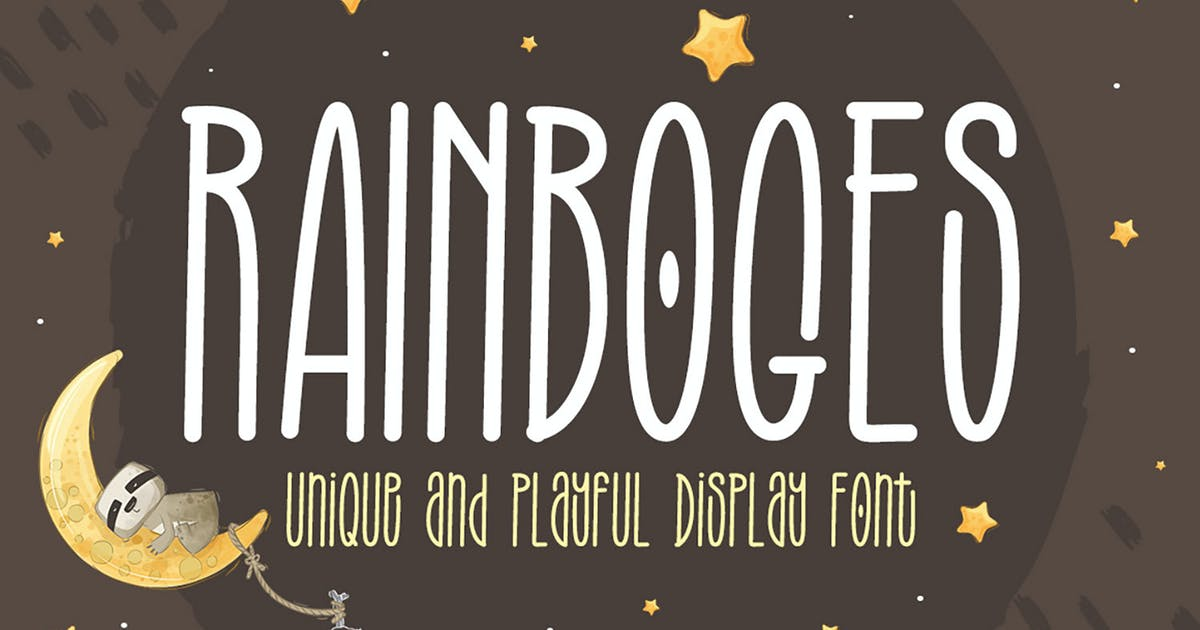 Download Rainboges - Playful Display Font by kotakkuningstudio