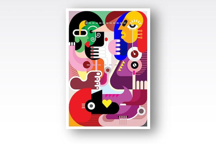 Thumbnail for Modern art Group of People vector illustration