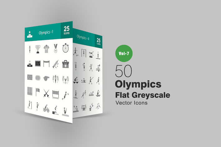 Thumbnail for 50 Olympics Flat Greyscale Icons