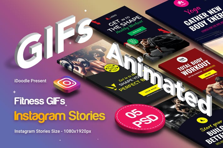 Thumbnail for Animated GIFs Gym & Fitness Instagram Stories