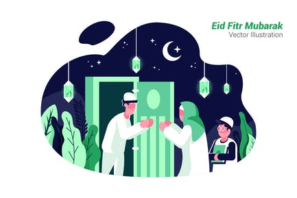 Eid Fitr Mubarak - Vector Illustration