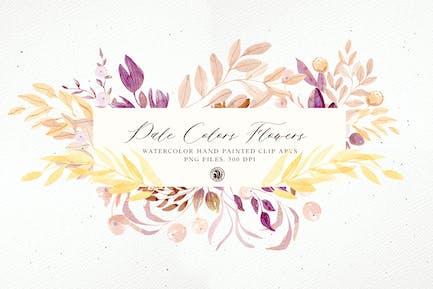 Pale Colors Watercolor Flowers