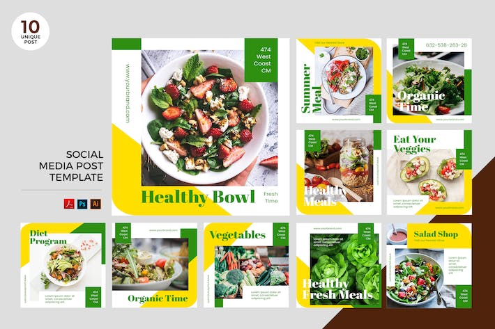 Thumbnail for Bio Diet Social Media Kit PSD & AI