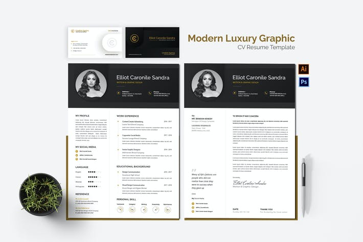 Thumbnail for Modern Luxury Graphic CV Resume Set