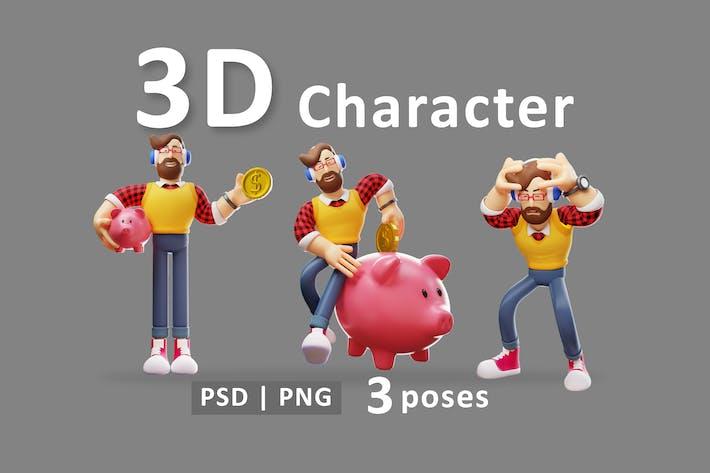 Männlich - 3D-Mann stehend mit unterschiedlicher Pose