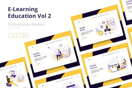 E-Learning Education set Illustration