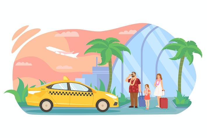 Die Familie flog in ein tropisches Land, Taxi