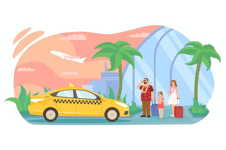 La familia voló a un país tropical, taxi