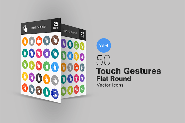 Thumbnail for 50 Touch Gestures Flat Round Icons