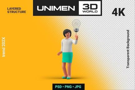 Businesswoman 3D Holding Lamp Creative Idea