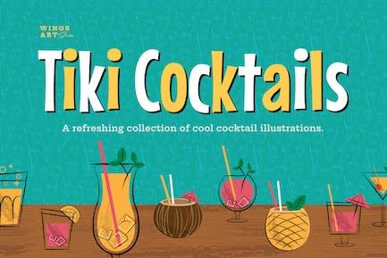 Tiki Cocktail Party Illustrations