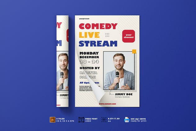Comedy Live Stream Flyer Template Vol. 01