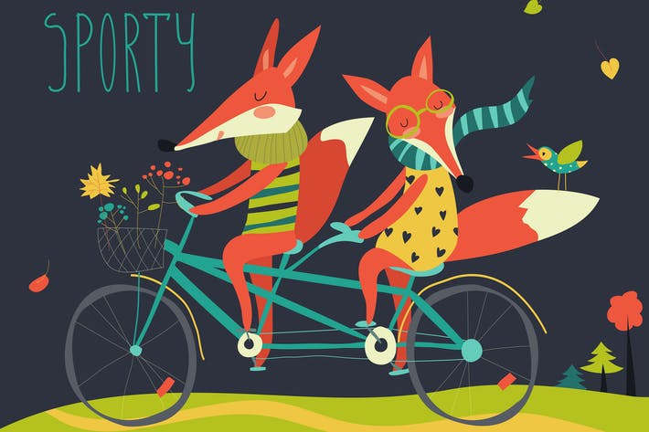 Thumbnail for Cute couple foxes ride tandem bicycle