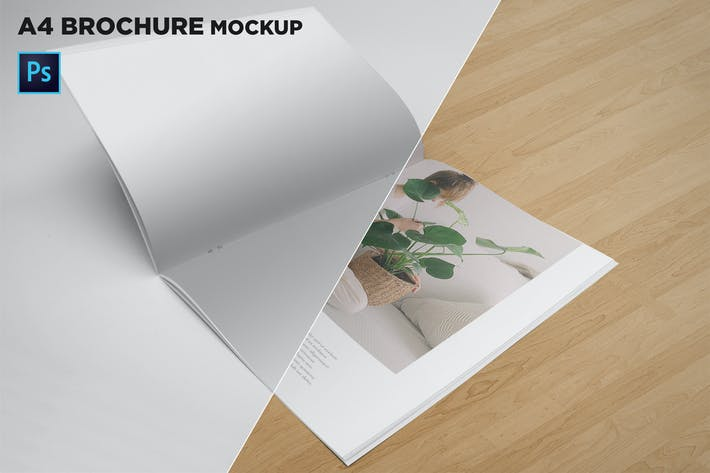 Thumbnail for A4 Brochure Mockup Open Pages