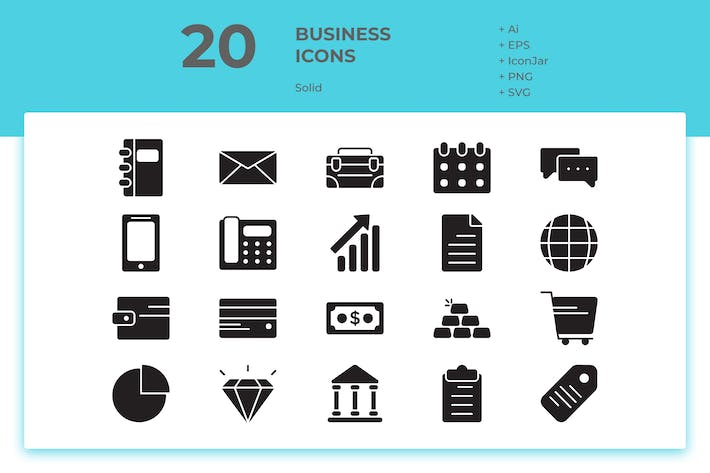 Thumbnail for 20 Business Icons (Solid)