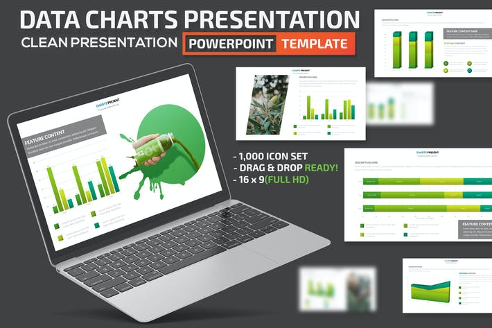 Thumbnail for Green Charts Powerpoint Presentation