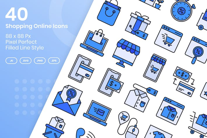 Thumbnail for 40 Shopping Online Icons Set - Filled Line