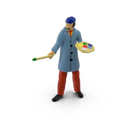 Artista de juguete en miniatura