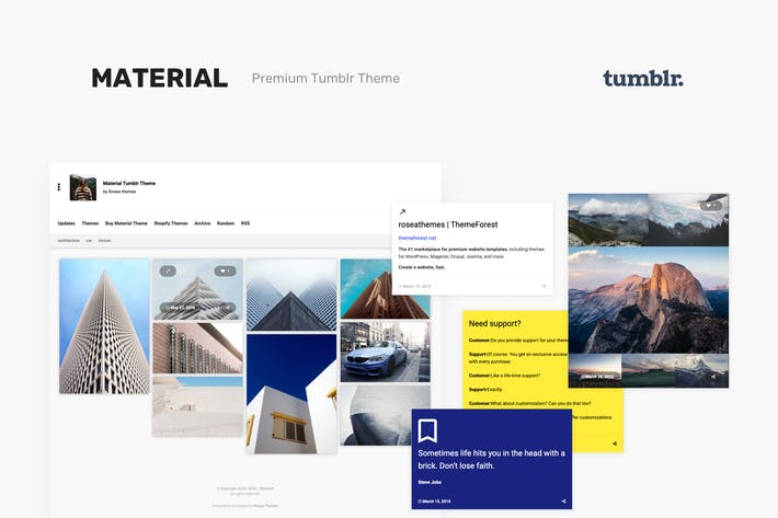 Thumbnail for Material | Responsive, Grid Tumblr Tema