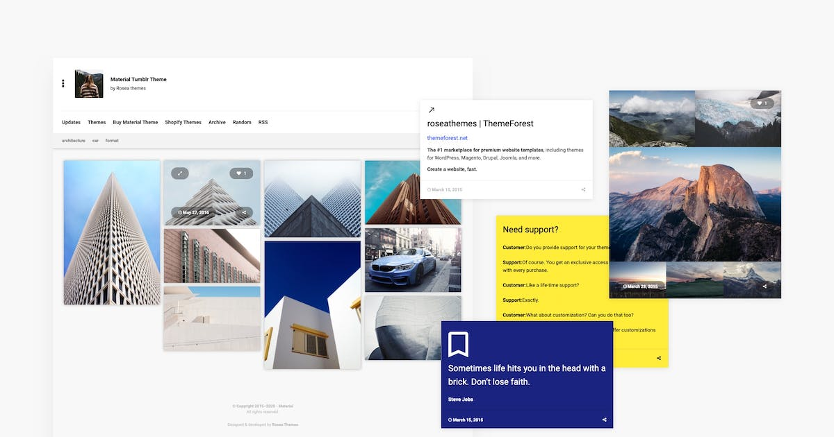 Download Material | Responsive, Grid Tumblr Theme by roseathemes