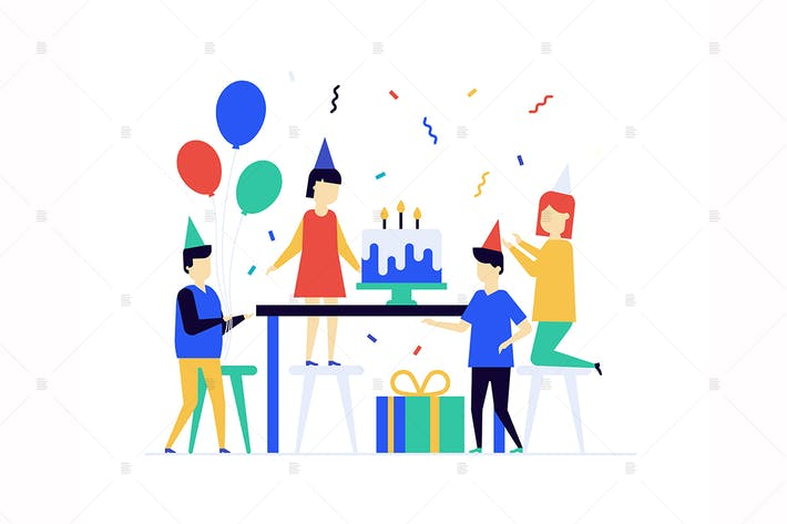 Cover Image For Children birthday celebration flat illustration