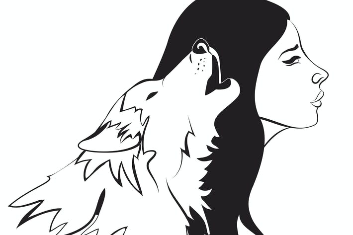 Thumbnail for Beautiful woman and wolf. Vector monochrome