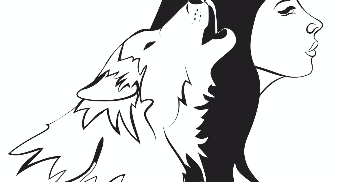 Download Beautiful woman and wolf. Vector monochrome by masastarus