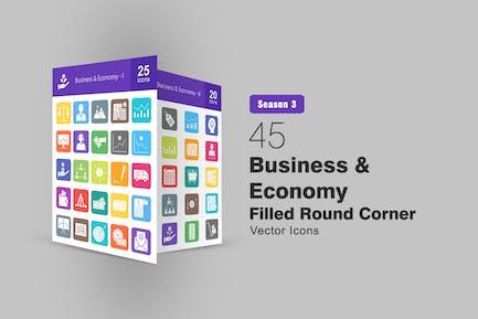 45 Business & Economy gefüllte runde Ecksymbole