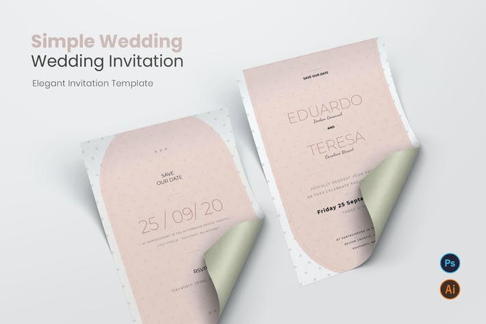 Thumbnail for Invitation de mariage simple