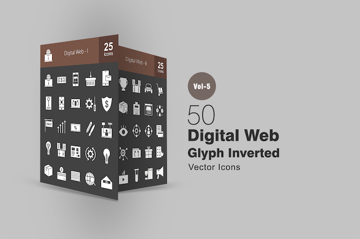 Thumbnail for 50 Digital Web Glyph Inverted Icons