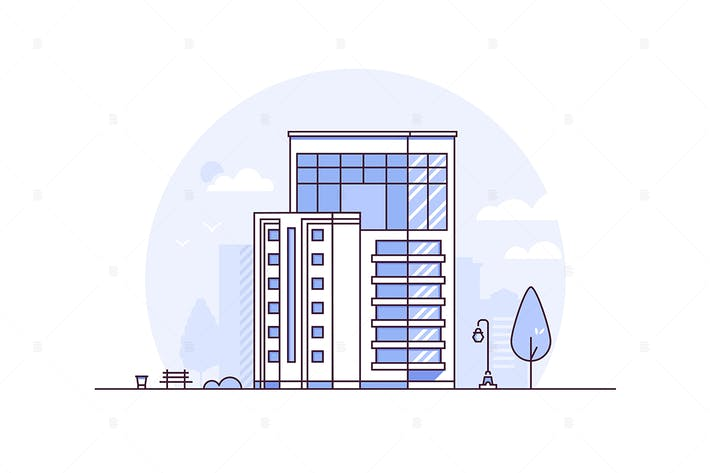 Thumbnail for Cityscape - line design style vector illustration