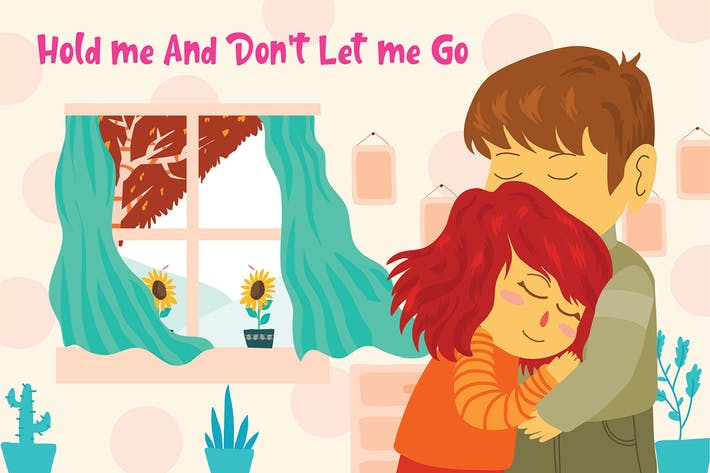 Thumbnail for Couple Hugging - Vector Illustration