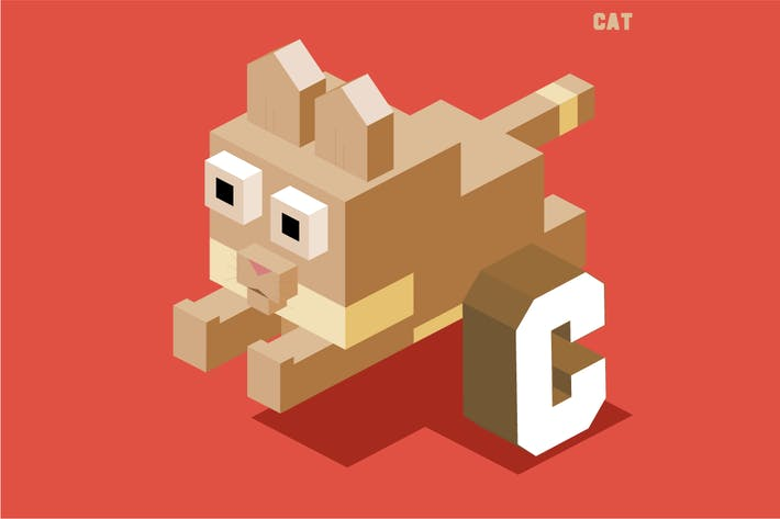 Thumbnail for C for cat. Animal Alphabet collection. vector illu