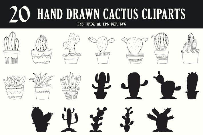 Thumbnail for 20 HandDrawn Cactus Cliparts